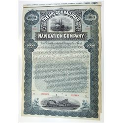 Oregon Railroad and Navigation Co. 1896 Specimen Bond.
