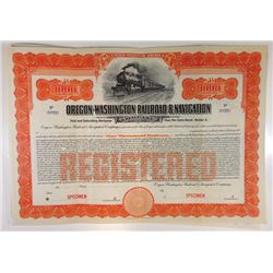Oregon-Washington Railroad & Navigation Co. 1911 Specimen Bond.