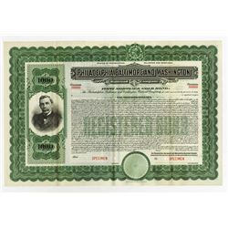 Philadelphia, Baltimore and Washington Railroad Co., 1904 Specimen Registered Gold Bond.