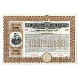 Philadelphia, Baltimore, and Washington Railroad Co., ca.1900-1920 Specimen Bond