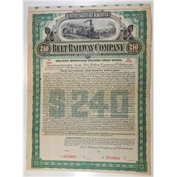 Belt Railway Company of Chattanooga,  1895 Specimen $240 Gold Bond.