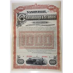 Nashville, Chattanooga & St. Louis Railway, 1888 Specimen Bond.