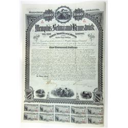 Memphis, Selma and Brunswick Railroad Co. 1882 Bond.