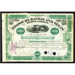 Missouri, Kansas & Texas Railway Co. 1880 Stock Certificate with Jay Gould Signature..