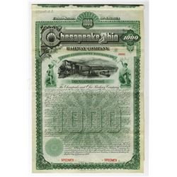 Chesapeake and Ohio Railway Co., 1889 Specimen Gold Bond.