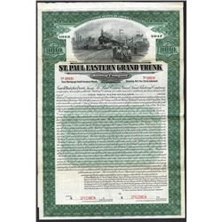 St. Paul Eastern Grand Trunk Railway Co. 1913 Specimen Bond