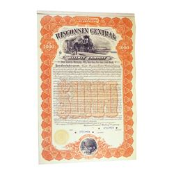 Wisconsin Central Railway Co. 1899 Specimen Bond.