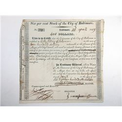 City of Baltimore, 1819 Cancelled Bond
