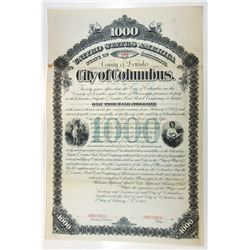 City of Columbus, County of Lewndes, 1882 Specimen Bond.