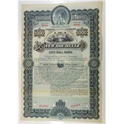 City of New Rochelle, City Hall Bond, 1899 Specimen Bond.