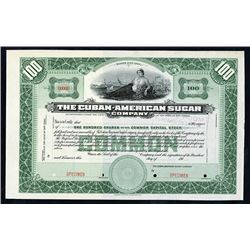 Cuban-American Sugar Co., 191x, Specimen Stock Certificate.