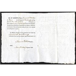 New-Hampshire Turnpike Road 1801 Issued Stock Certificate.