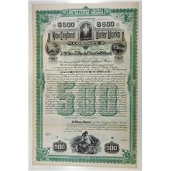 New England Water Works Co., 1895 Specimen Bond
