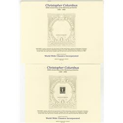 Christopher Columbus, 500th Anniversary of the Discovery of America. 1992 Souvenir Card with proof C