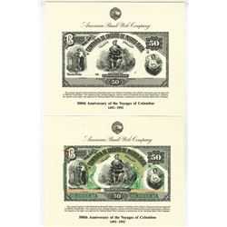 Compania de Credito de Puerto Plata proof note used on the 1992 Voyages of Columbus Souvenir Card Pr