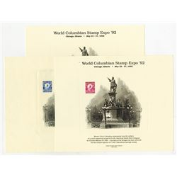 World Columbian Stamp Expo. 1992, Chicago, Souvenir Card Trio.