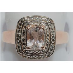 STERLING SILVER MORGANITE RING  SIZE 7