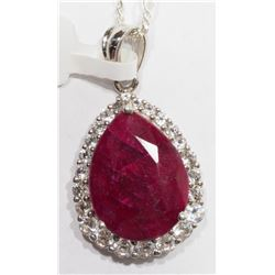 STERLING SILVER RUBY & WHITE TOPAZ NECKLACE