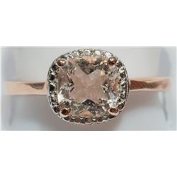 STERLING SILVER MORGANITE RING  SIZE 6 3/4