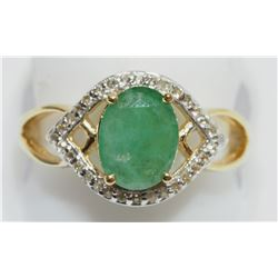 STERLING SILVER GOLD-PLATED EMERALD RING