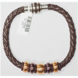 STAINLESS STEEL LEATHER BRACELET WITH BEADS