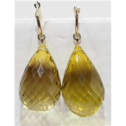 14K YELLOW GOLD LARGE CITRINE EARRINGS