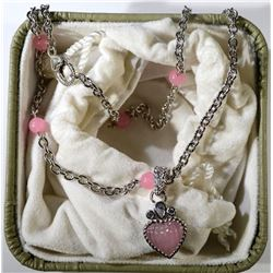 PINK HEART & STERLING SILVER NECKLACE
