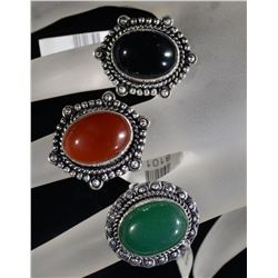 3 - GERMAN SILVER RINGS  ALL SIZE 6