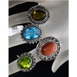 4 - GERMAN SILVER RINGS SIZE 6, 7, 2 -8's