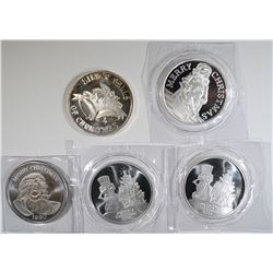 5 - 1oz .999 SILVER CHRISTMAS ROUNDS