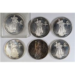 6 - 1oz .999 SILVER ROUNDS from