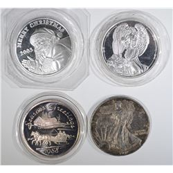 3 - 1oz .999 SILVER CHRISTMAS ROUNDS &