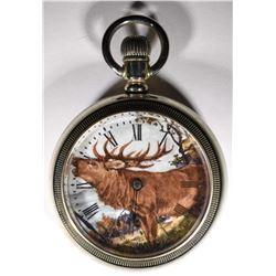 Silver Elgin open face pocket watch, Moose,