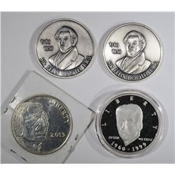 2- 1oz .999 SILVER ROUNDS & 2 - 30g .999