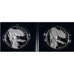 (2) 2012 Star-Spangled Banner Proof Silver Dollars