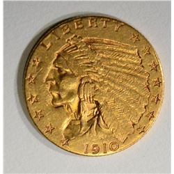 1910 $2.50 GOLD INDIAN. AU NICE!