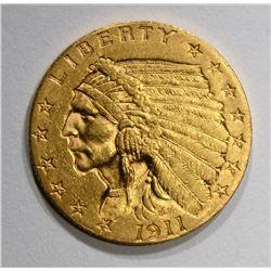 1911 $2.50 GOLD INDIAN, UNC