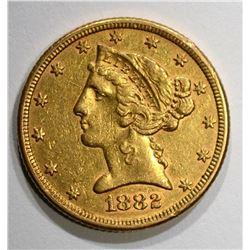 1882 $5.00 GOLD LIBERTY, AU