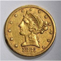 1885-S $5.00 GOLD LIBERTY, XF+