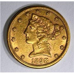 1898-S $5.00 GOLD LIBERTY, AU