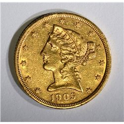 1905-S $5.00 GOLD LIBERTY, AU+