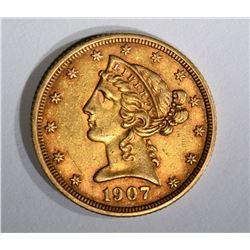 1907-D $5.00 GOLD LIBERTY, XF/AU