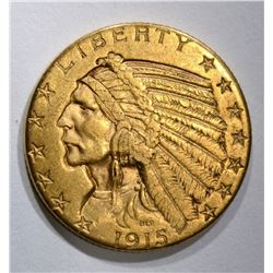 1915-S $5.00 GOLD INDIAN, XF/AU