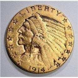 1914-D $5.00 GOLD INDIAN, XF/AU