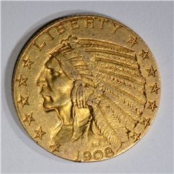 1908 $5.00 GOLD INDIAN, XF/AU