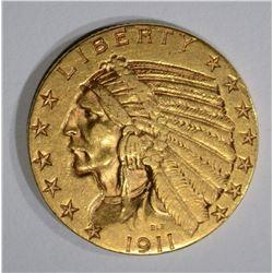 1911 $5.00 GOLD INDIAN, XF/AU
