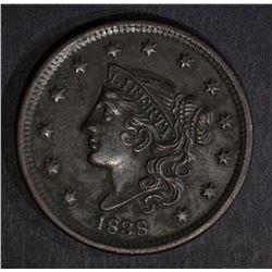 1838 LARGE CENT, AU minor roughness