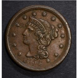 1854 LARGE CENT, XF+
