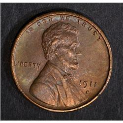 1911-S LINCOLN CENT, AU+