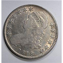 1818 BUST HALF DOLLAR O-112, XF/AU